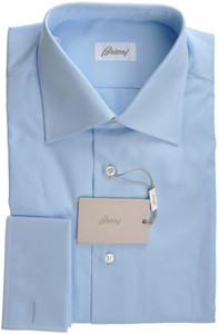 Brioni Dress Shirt Frech Cuff Superfine Cotton 17 1/2 44 Blue 03SH0254
