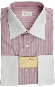 Brioni Dress Shirt French Cuff Cotton 16 41 Red Stripe 03SH0267
