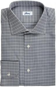 Brioni Dress Shirt Cotton 15 3/4 40 Gray Check 03SH0266
