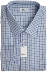 Brioni Dress Shirt Cotton 17 3/4 45 Blue Check 03SH0265