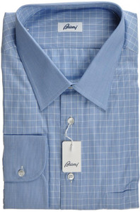 Brioni Dress Shirt Classic Fit Cotton 18 46 Blue Check 03SH0282