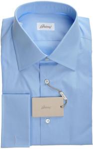 Brioni Dress Shirt French Cuff Superfine Cotton 17 1/2 44 Blue 03SH0301