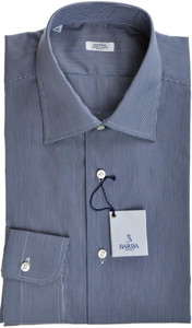 Barba Napoli Luxury Dress Shirt Cotton 14 1/2 37 Blue Check 11SH0106