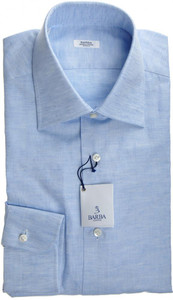 Barba Napoli Luxury Dress Shirt Cotton 14 1/2 37 Blue Fancy 11SH0101