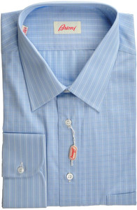 Brioni Dress Shirt Cotton 17 3/4 45 Blue Check 03SH0339