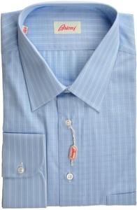 Brioni Dress Shirt Cotton 17 3/4 45 Blue Check 03SH0339