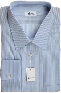 Brioni Dress Shirt Cotton 17 3/4 45 Blue Stripe 03SH0338