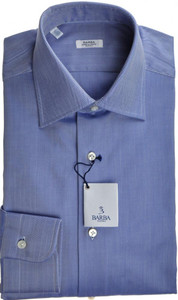 Barba Napoli Luxury Dress Shirt Cotton 14 1/2 37 Blue Herringbone 11SH0133