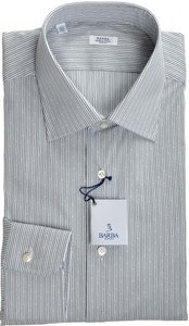 Barba Napoli Luxury Dress Shirt Cotton Stretch 16 41 Gray Stripe 11SH0127
