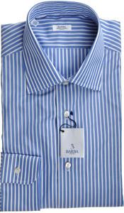 Barba Napoli Luxury Dress Shirt Cotton 17 1/2 44 Blue Stripe 11SH0126