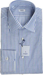 Barba Napoli Luxury Dress Shirt Cotton 14 1/2 37 Blue Stripe 11SH0116