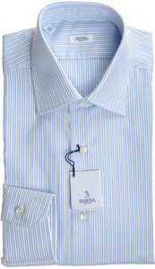 Barba Napoli Luxury Dress Shirt Cotton 17 43 Blue Stripe 11SH0114