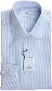 Barba Napoli Luxury Dress Shirt Cotton 15 3/4 40 Blue Stripe 11SH0112