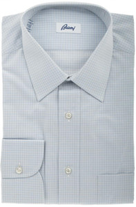 Brioni Dress Shirt Cotton 15 1/2 39 Gray Check 03SH0326