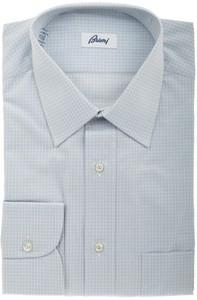 Brioni Dress Shirt Cotton 15 1/2 39 Gray Check 03SH0326