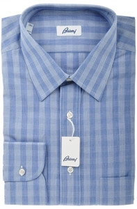 Brioni Dress Shirt Cotton 15 3/4 40 Blue Plaid Check 03SH0325