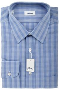 Brioni Dress Shirt Cotton 15 3/4 40 Blue Plaid Check 03SH0325