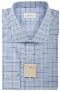 Brioni Dress Shirt Cotton 17 3/4 45 Blue Plaid Check 03SH0324
