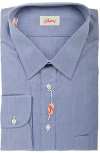 Brioni Dress Shirt Cotton 18 46 Blue Micro Check 03SH0323