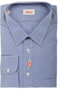 Brioni Dress Shirt Cotton 18 46 Blue Micro Check 03SH0323