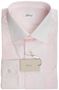 Brioni Dress Shirt Superfine Cotton 17 3/4 45 Pink Solid 03SH0319