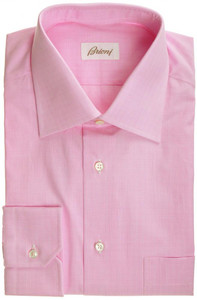 Brioni Dress Shirt Superfine Cotton 17 43 Pink Check 03SH0317