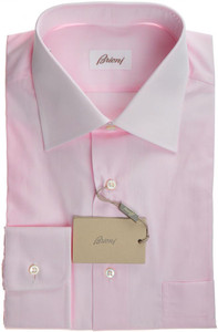 Brioni Dress Shirt Superfine Cotton 16 1/2 42 Pink Solid 03SH0307