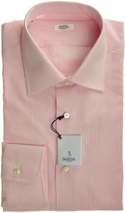 Barba Napoli Luxury Dress Shirt Cotton 17 43 Pink Stripe 11SH0144