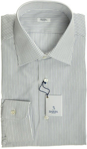 Barba Napoli Luxury Dress Shirt Cotton 15 1/2 39 White Blue Stripe 11SH0138