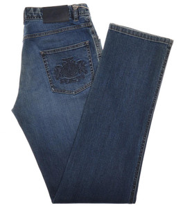 Brioni Logo Crest Denim Jeans 'Stelvio' Cotton Stretch 32 48 Blue 03JN0373