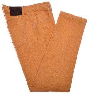 Kiton Luxury Jeans Cotton Soft Flannel 33 49 Orange Fleck 01JN0372