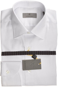 Canali Dress Shirt 'Trim Fit' Cotton 14 1/2 37 White Tonal Stripe 25SH0123