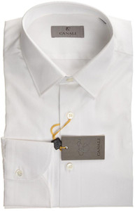 Canali Dress Shirt 'Trim Fit' Cotton 14 1/2 37 White Tonal Fancy 25SH0121