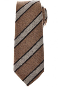 Kiton Napoli Tie Cashmere 59 x 3 5/8 Brown Stripe 01TI1005