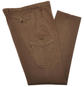 Boglioli Cargo Pants Cotton Stretch 36 52 Washed Brown-Olive 24PT0106