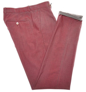 Boglioli Pants Pleats Wool Stretch 32 48 Dyed Red Over Gray 24PT0125