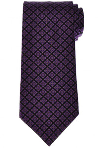 Stefano Ricci Tie Silk 61 x 3 5/8 Black Purple Geometric 13TI0614
