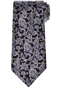 Stefano Ricci Luxury Tie Silk 59 1/4 x 3 5/8 Black Gray Paisley 13TI0607