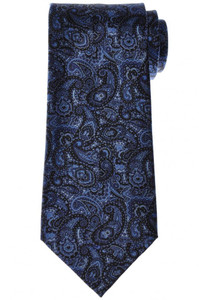 Stefano Ricci Luxury Tie Silk 59 1/4 x 3 1/2 Blue Black Paisley 13TI0605