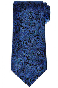 Stefano Ricci Luxury Tie Silk 59 x 3 1/2 Blue Black Paisley 13TI0604