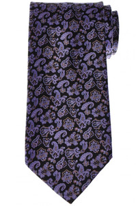 Stefano Ricci Luxury Tie Silk 61 x 3 1/2 Black Purple Paisley 13TI0603
