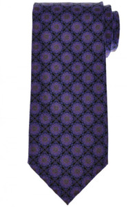 Stefano Ricci Luxury Tie Silk 59 x 3 1/2 Black Purple Geometric 13TI0626