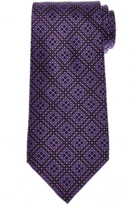 Stefano Ricci Tie Silk 59 1/2 x 3 5/8 Black Purple Geometric 13TI0622