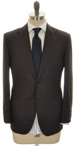 Kiton Suit Lasa 2B 14 Micron 180s Wool 40 50 Gray Red Plaid