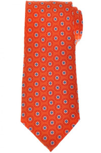 Cesare Attolini Napoli Silk Tie 60 x 3 3/8 Orange Blue Geometric 09TI0183