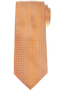 Cesare Attolini Napoli Silk Tie 58 x 3 1/4 Orange White Geometric 09TI0180