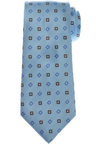 Cesare Attolini Silk Tie 58 1/4 x 3 3/8 Blue Brown Geometric 09TI0202