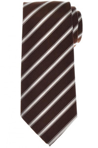 Cesare Attolini Silk Tie 58 x 3 1/4 Brown White Stripe 09TI0191