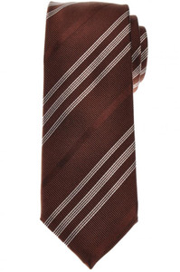 Cesare Attolini Silk Cotton Tie 58 1/2 x 3 1/4 Brown White Stripe 09TI0190