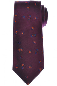 Cesare Attolini Silk Tie 59 3/4 x 3 1/4 Purple Blue Geometric 09TI0186